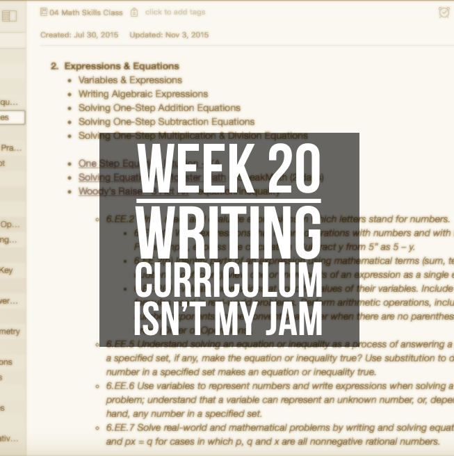 Week 20 – Writing Curriculum Isn't My Jam