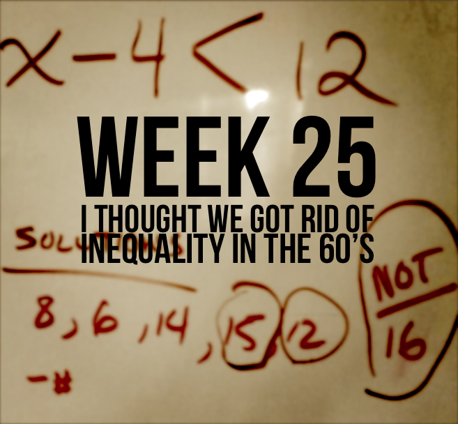 Week 25 – I Thought We Got Rid of Inequality In The 60's