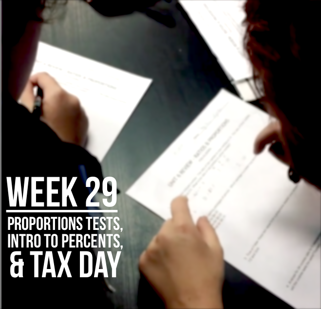 Week 29 – Proportions Tests, Percent Introductions, and Tax Day