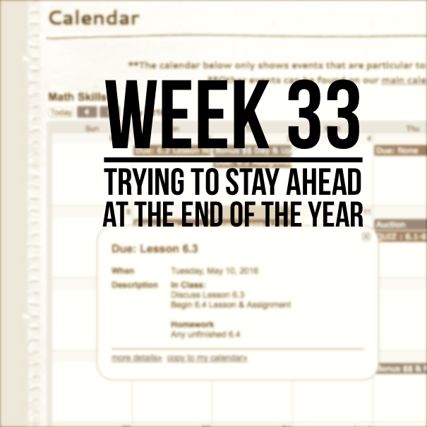 Week 33 – Trying To Stay Ahead At The End Of The Year