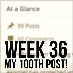 Week 36 – Last Week, $3k Candy, and My 100th Post!